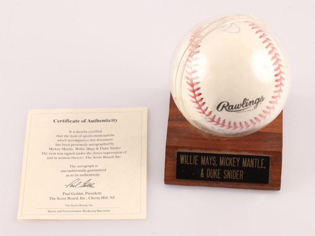 AUTOGRAPHED MAYS MANTLE & SNIDER BASEBALL WITH COA