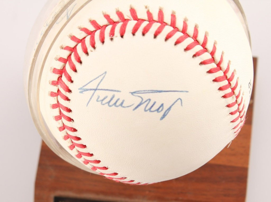 AUTOGRAPHED MAYS MANTLE & SNIDER BASEBALL WITH COA - 3