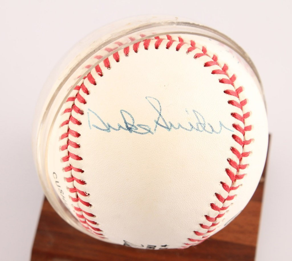 AUTOGRAPHED MAYS MANTLE & SNIDER BASEBALL WITH COA - 4