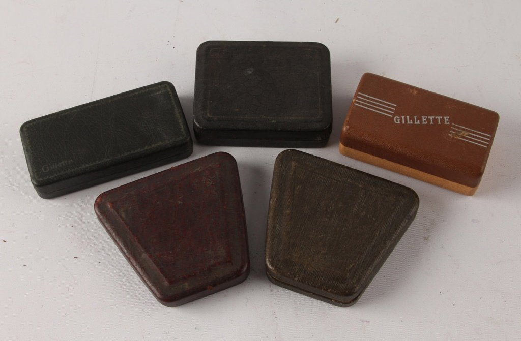 MIXED LOT OF 5 GILLETTE GOLD PLATE SAFETY RAZORS