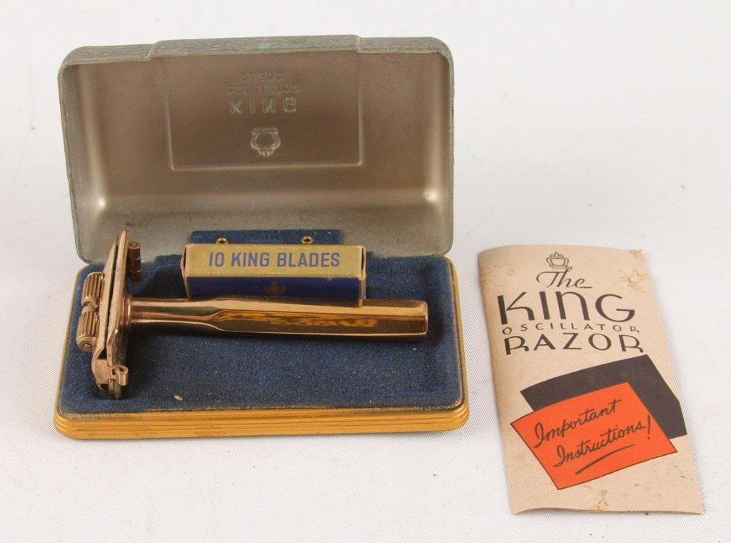 LOT OF 4 KING 22K GOLD PLATE DE OSCILLATOR RAZORS - 4