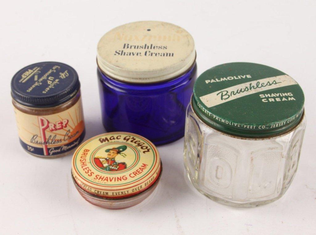 LOT OF 4 MIXED BRUSHLESS SHAVING CREAM GLASS JARS