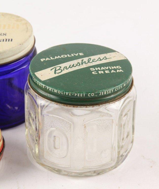 LOT OF 4 MIXED BRUSHLESS SHAVING CREAM GLASS JARS - 2