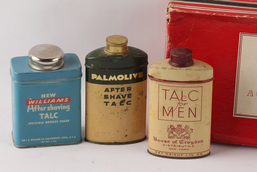 MIXED LOT OF 8 SHAVING TALCUM POWDER TINS - 4