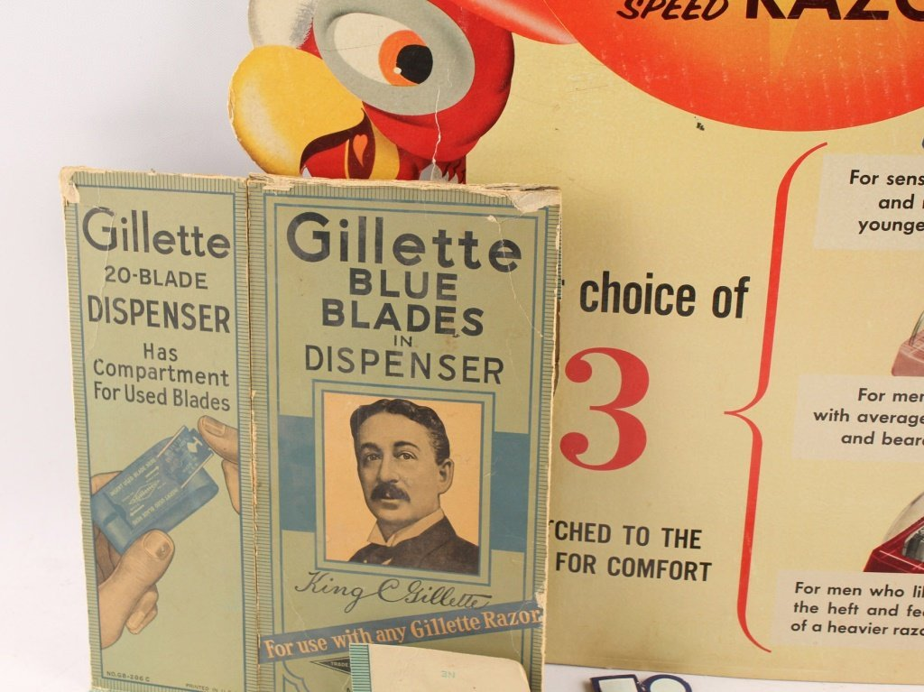 LOT OF 4 GILLETTE RAZOR BLADE ADVERTISING DISPLAYS - 5
