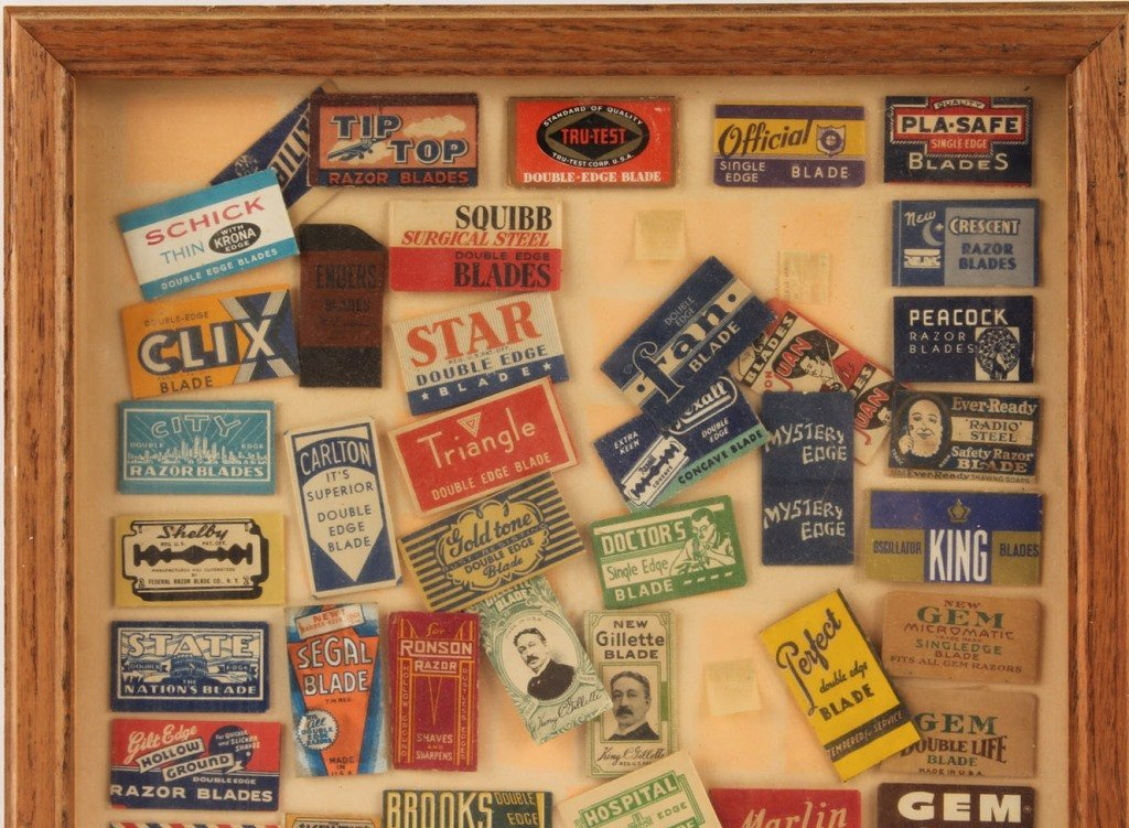 FRAMED GROUPING OF SAFETY RAZOR BLADE PACKETS - 2
