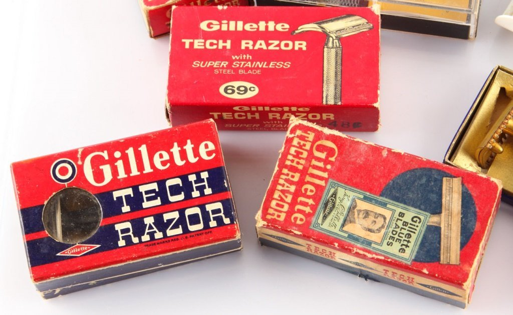 LOT OF 7 STEEL GILLETTE TECH SAFETY RAZORS - 2
