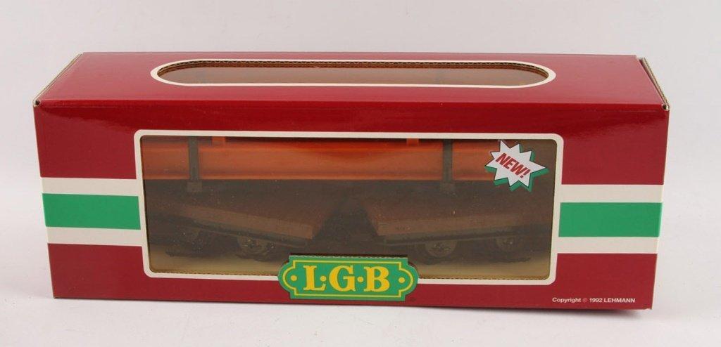 LGB 4050 TRAINS FLATCAR WITH ORANGE I-BEAM LOAD