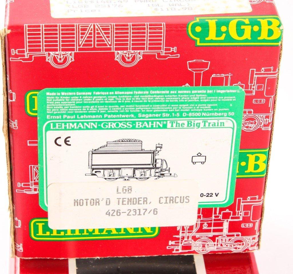 THREE LGB TRAINS: POWDERED TENDER, FLAT CAR, TRACK - 3