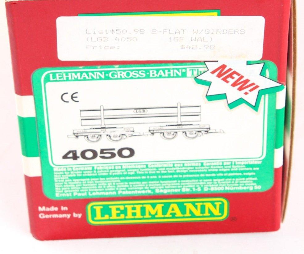 LGB TRAINS 4050 FLATCAR WITH ORANGE I-BEAM LOAD - 2