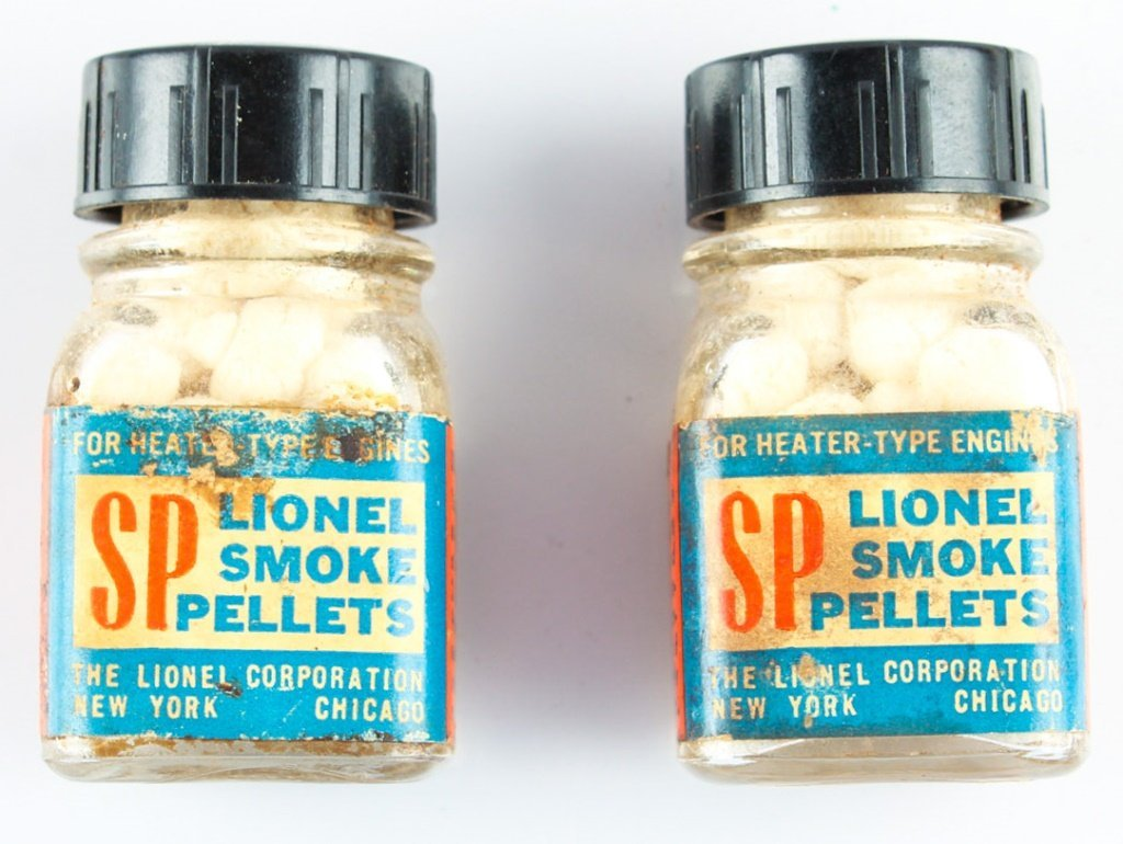 TWO BOTTLES OF LIONEL SMOKE PELLETS