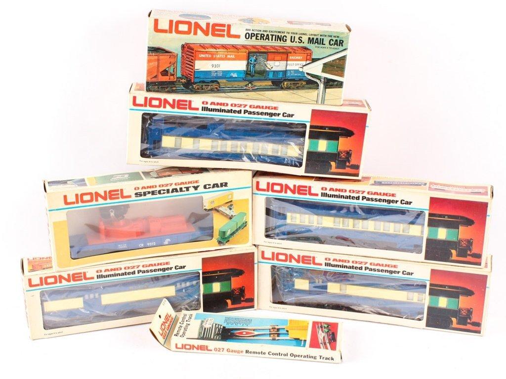 LOT OF SEVEN LIONEL TRAINS & ACCESSORIES