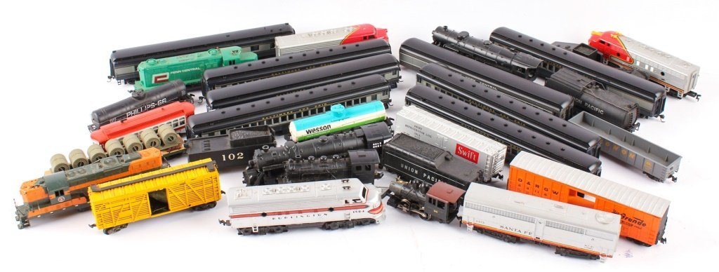 LARGE LOT OF TRAINS BY LIONEL, TYCO, NEW MODEL ONE