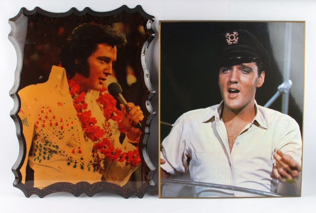 TWO ELVIS PRINTS TO WOOD