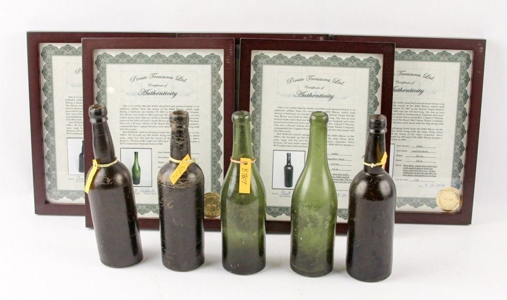 1867 RMS RHONE SHIPWRECK PORT BOTTLES - LOT OF 5
