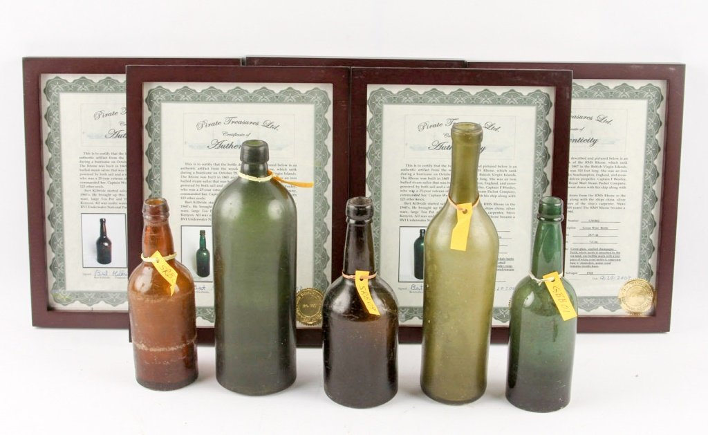 FIVE 1867 RMS RHONE SHIPWRECK ALCOHOL BOTTLES
