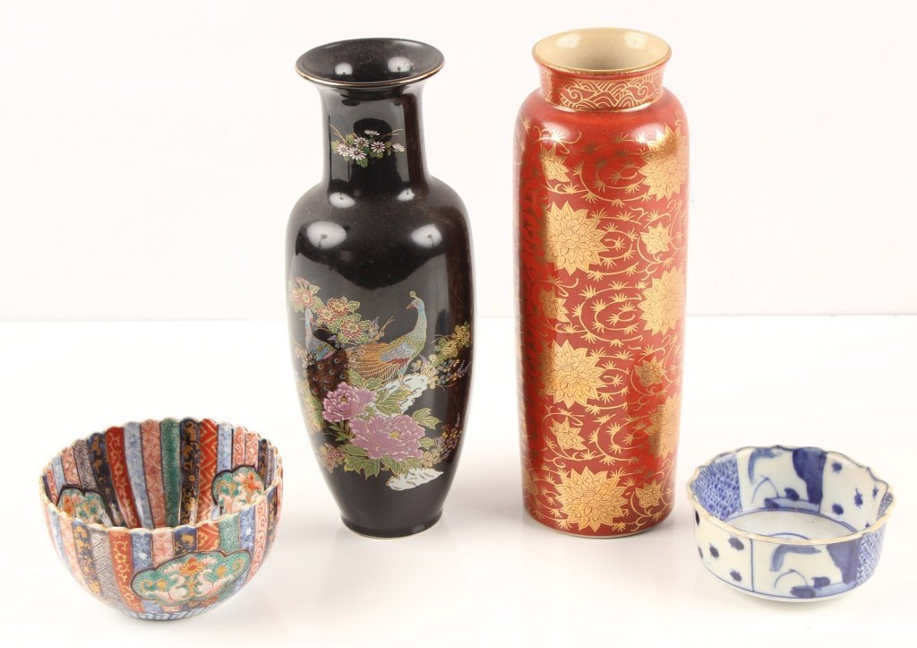 FOUR JAPANESE & CHINESE STAMPED PORCELAIN