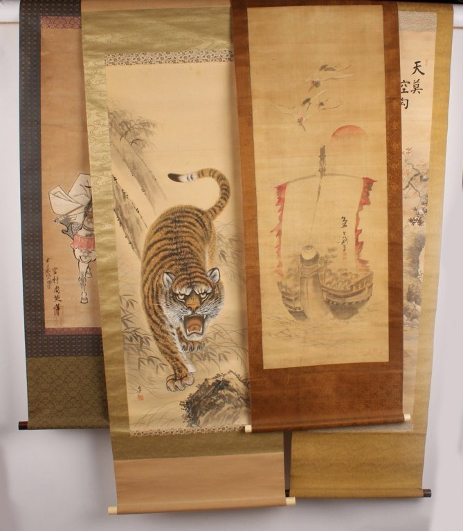 FOUR ASIAN WALL SCROLLS
