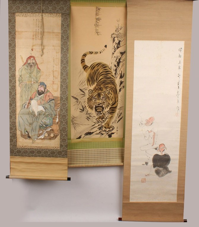 THREE ASIAN WALL SCROLLS