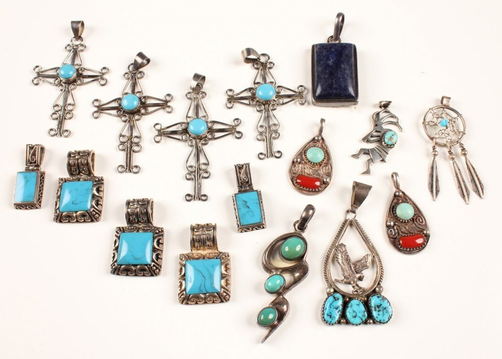 STERLING SILVER PENDANTS W/TURQUOISE & MORE