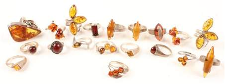 STERLING SILVER AMBER FASHION RINGS