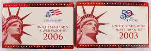 LOT OF 2 US QUARTER 2003 2006 SILVER PROOF SETS