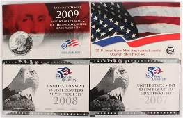 LOT OF 4 US SILVER PROOF QUARTER SETS 20072010
