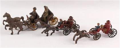 MIXED CAST IRON HORSE AND CARRIAGE TOYS