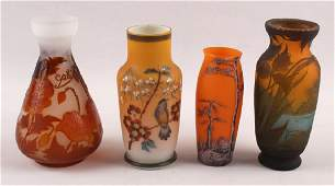 FOUR ART GLASS VASES | PAINTED AND CAMEO