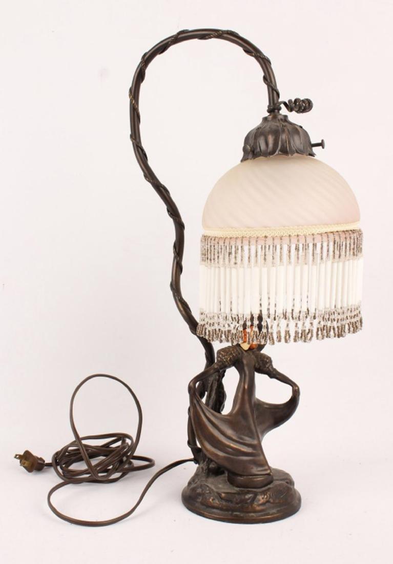 ART NOUVEAU BRASS FIGURAL LAMP - MARKED