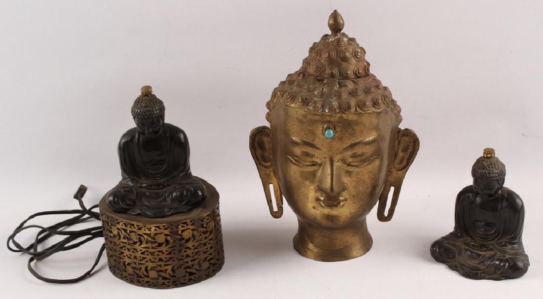 3 BRASS & SPELTER BUDDHA FIGURES