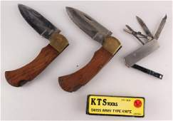 4 POCKET KNIVES WOODEN METAL SWISS ARMY