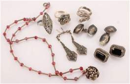 LADIES STERLING SILVER MOSTLY MARCASITE JEWELRY