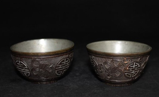 Qing Pair of Pewter and Coconut Teacups