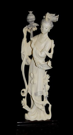 Highly Carved Ivory Figure of Lady on Base