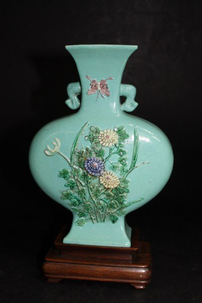 Green Glazed Vase with Applied Floral Features