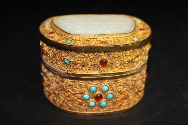 Jade Inlayed Gold Colored Trinket Box