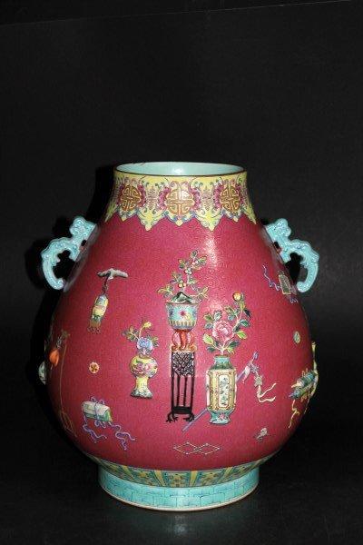 Large Carved Red Ground Vase