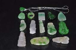 Group of Chinese Carved Jade Jewelry Articles
