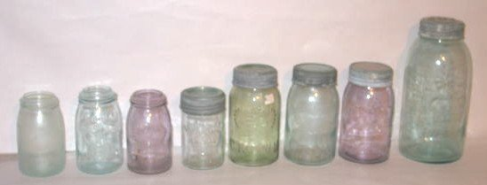 123: COLLECTION OF 8 DIFFERENT CROWN CANNING JARS