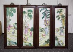 A SET OF FOUR CHINESE PORCELAIN TILE WITH FRAME