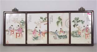 SET OF FOUR CHINESE FRAMED PORCELAIN TILES