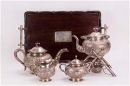 SET OF 5 CHINESE STERLING SILVER TEA SET