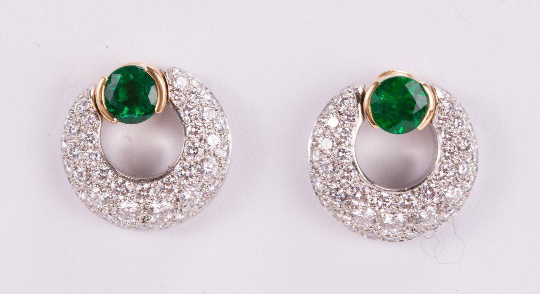 TIFFANY & CO. 18K DIAMOND EMERALD EARRINGS
