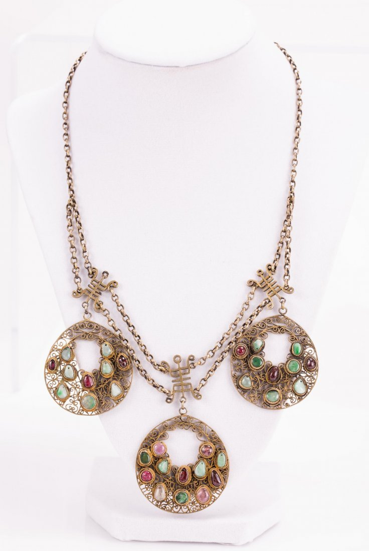 CHINESE GILT SILVER PENDANT NECKLACE
