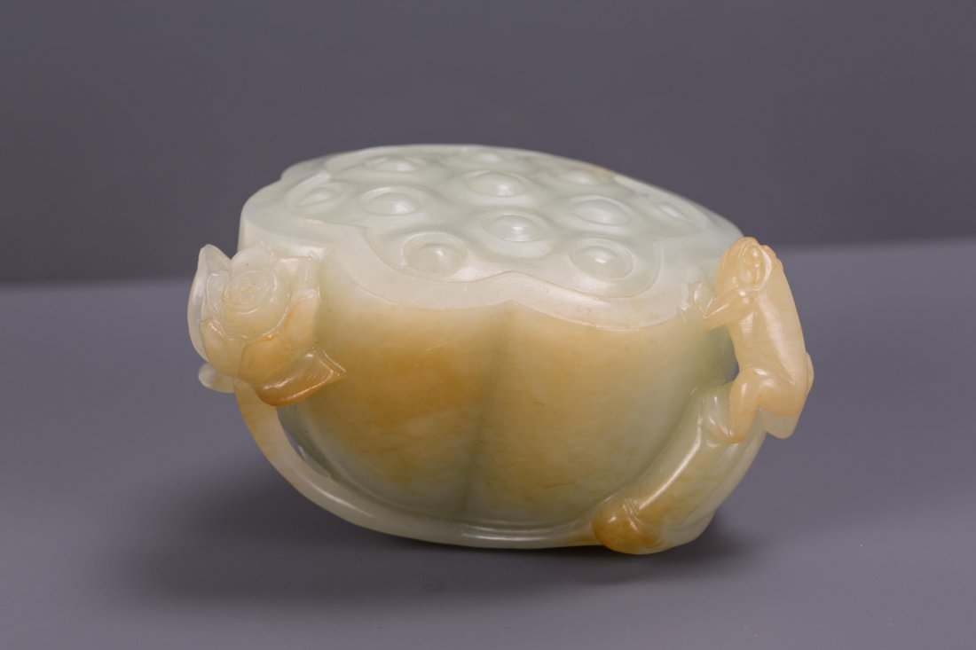 CHINESE CELADON JADE CARVED LOTUS