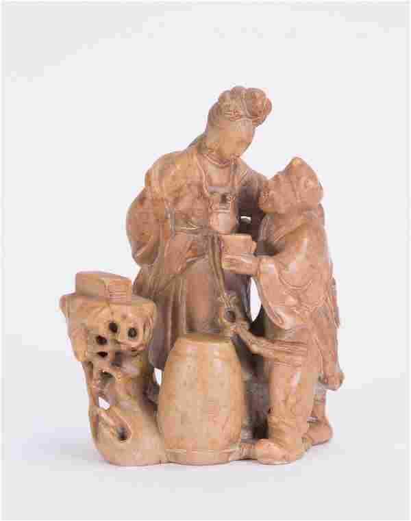 CHINESE CARVED SOAPSTONE FIGURAL GROUP