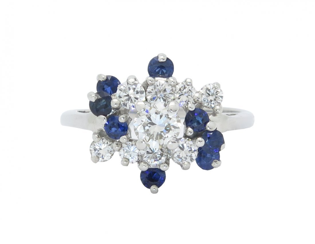 SPECTACULAR .90CTW DIAMOND AND SAPPHIRE WHITE GOLD RING
