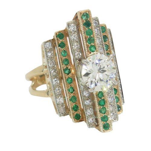 2.03CTW ART DECO DIAMOND AND EMERALD RING