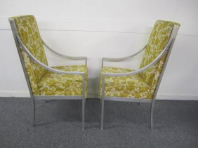 Pair Milo Baughman Style Aluminum Arm Chairs
